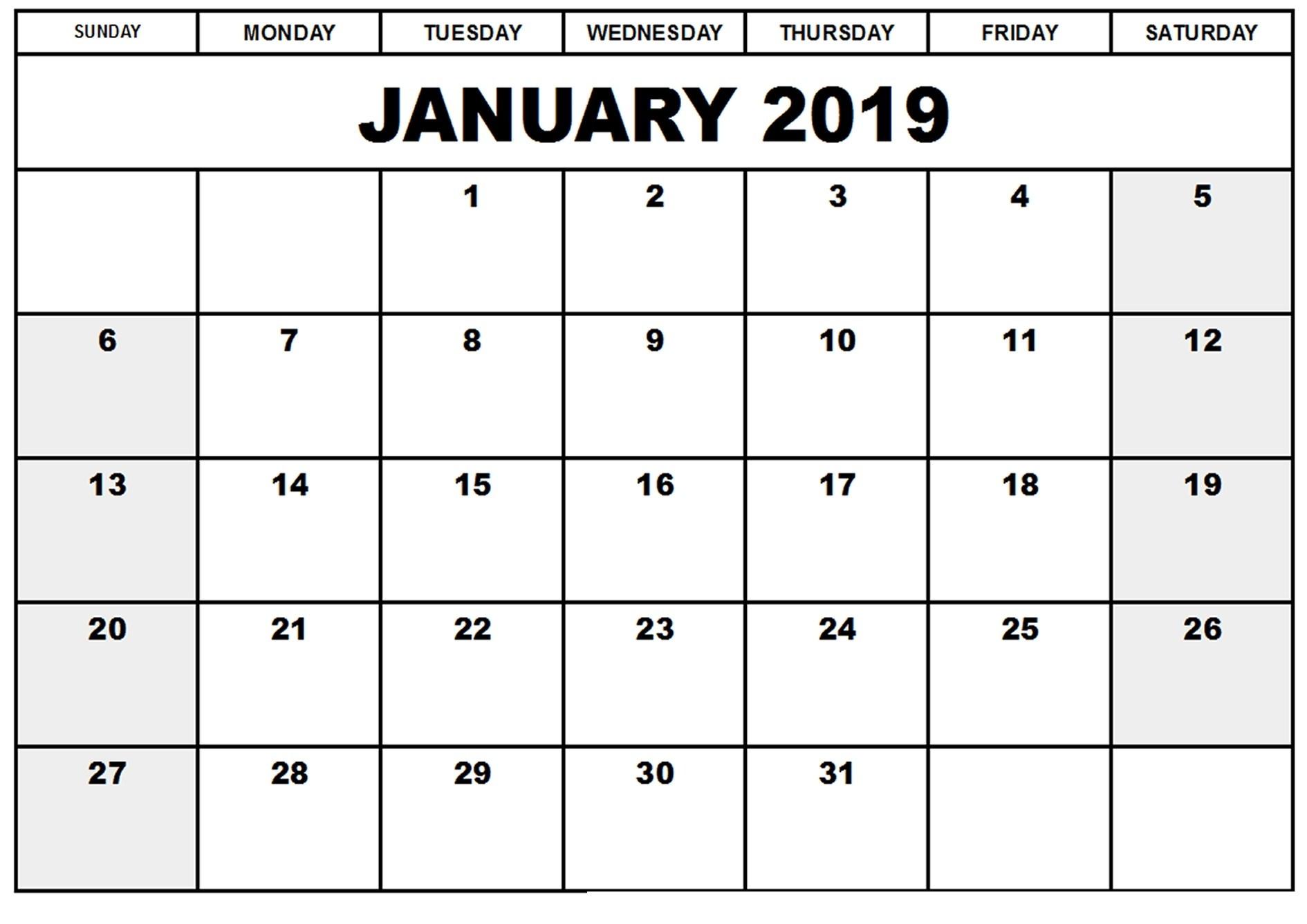 January 2019 South Africa Calendar