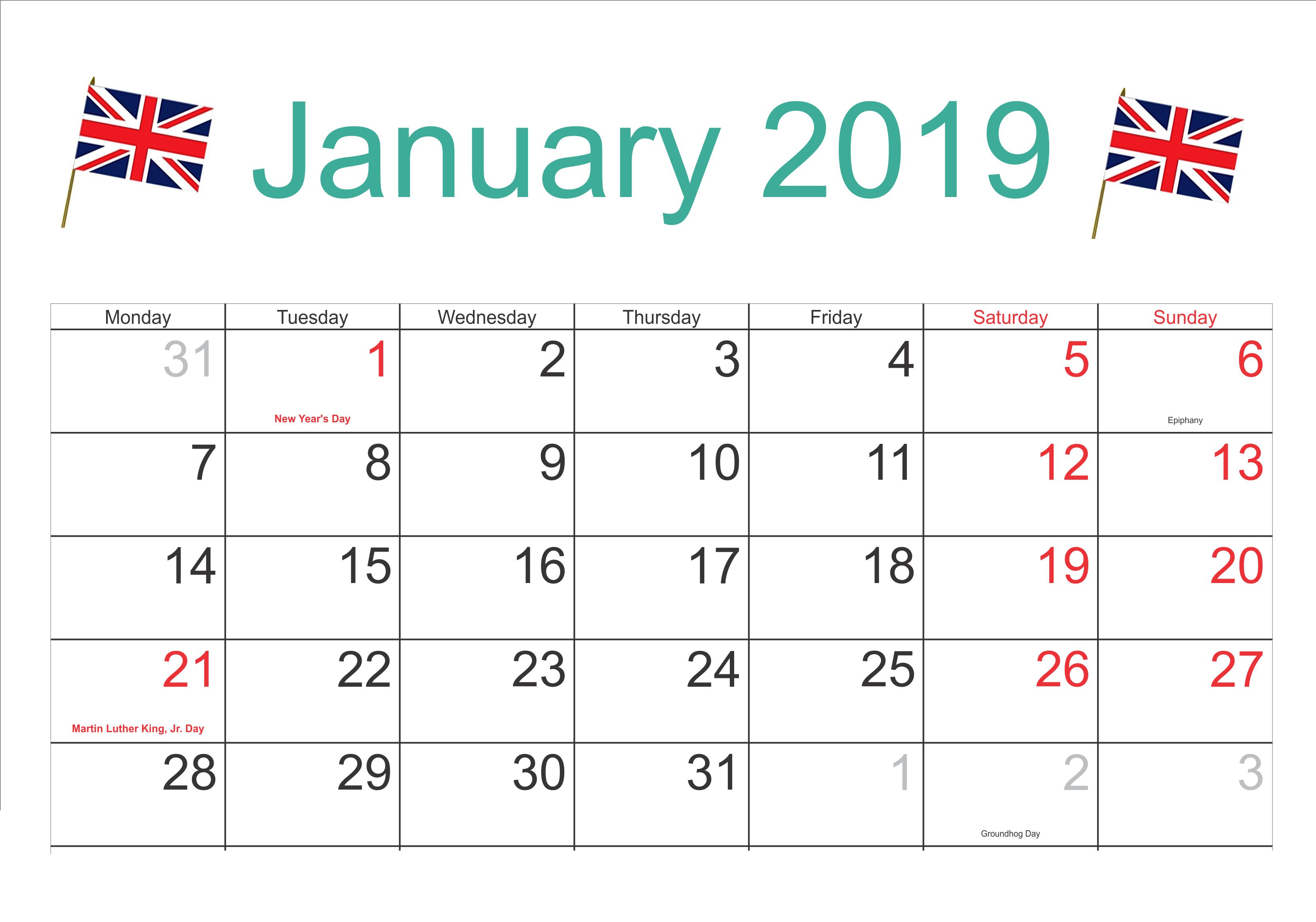 January 2019 UK Calendar With Holidays