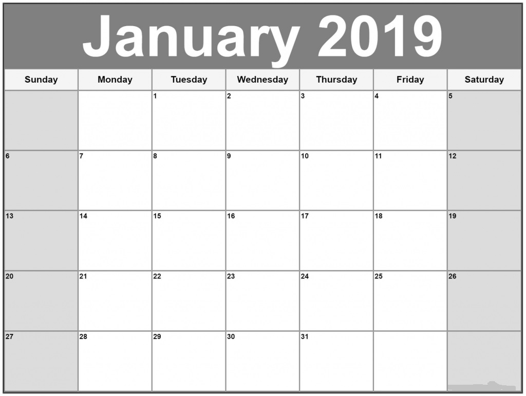 January 2019 UK Calendar