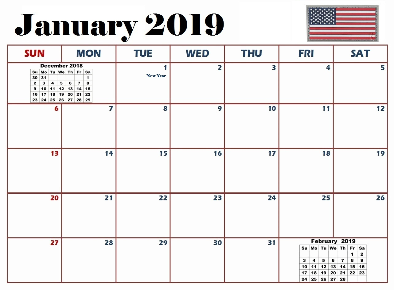 January 2019 USA Calendar With Holidays