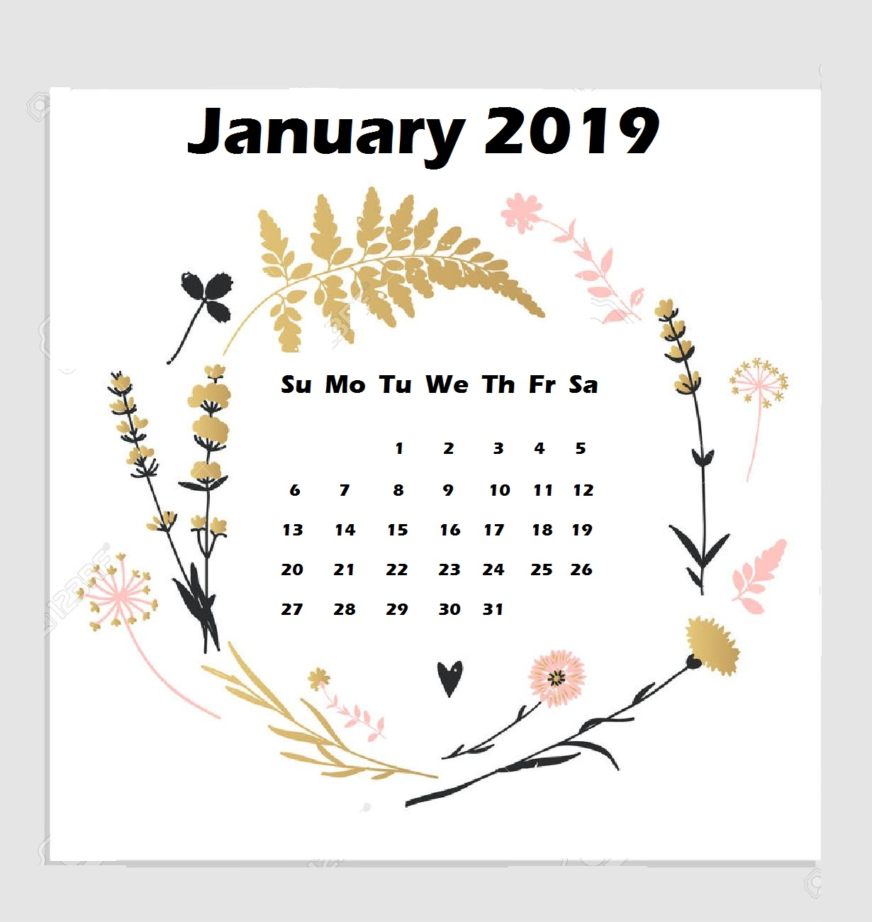 January 2019 iPhone Wallpaper Calendar
