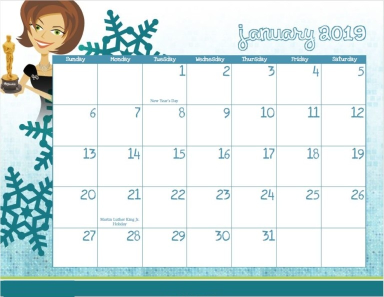 January 2019 printable Blue Calendar
