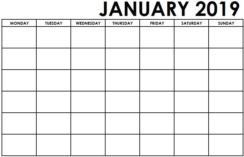 Editable January Calendar 2019 Template PDF