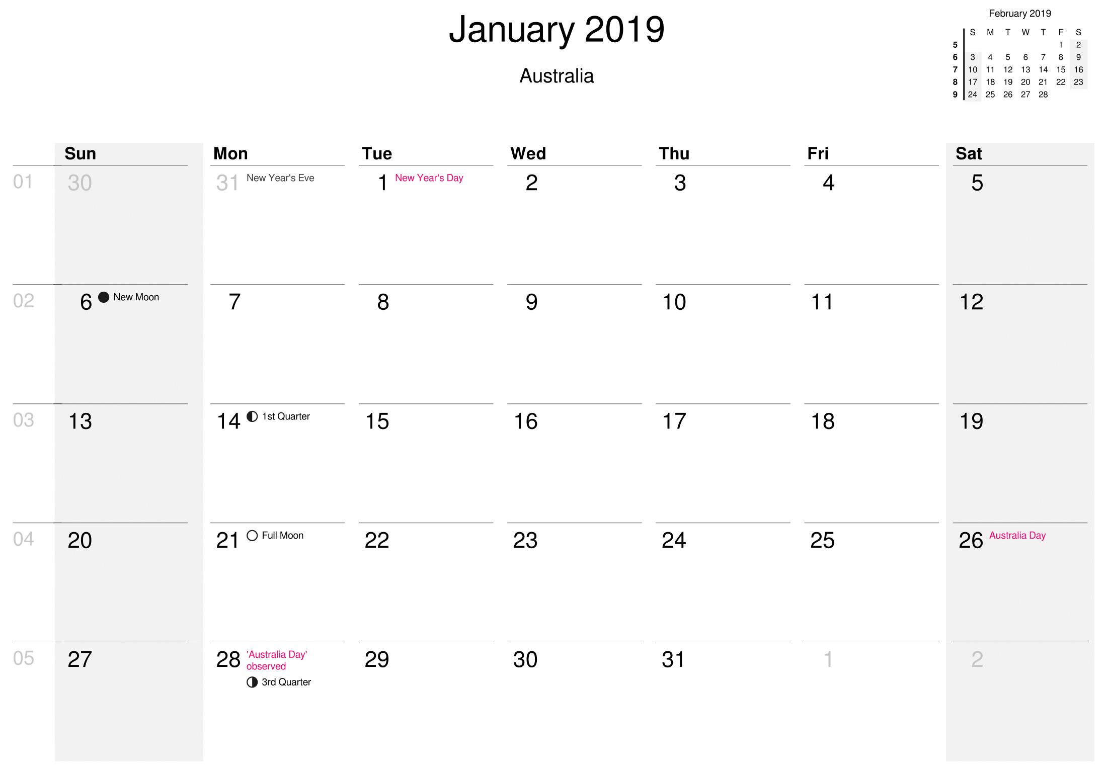 January Calendar 2019 Australia