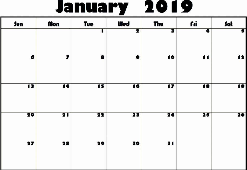 January Calendar 2019 Editable