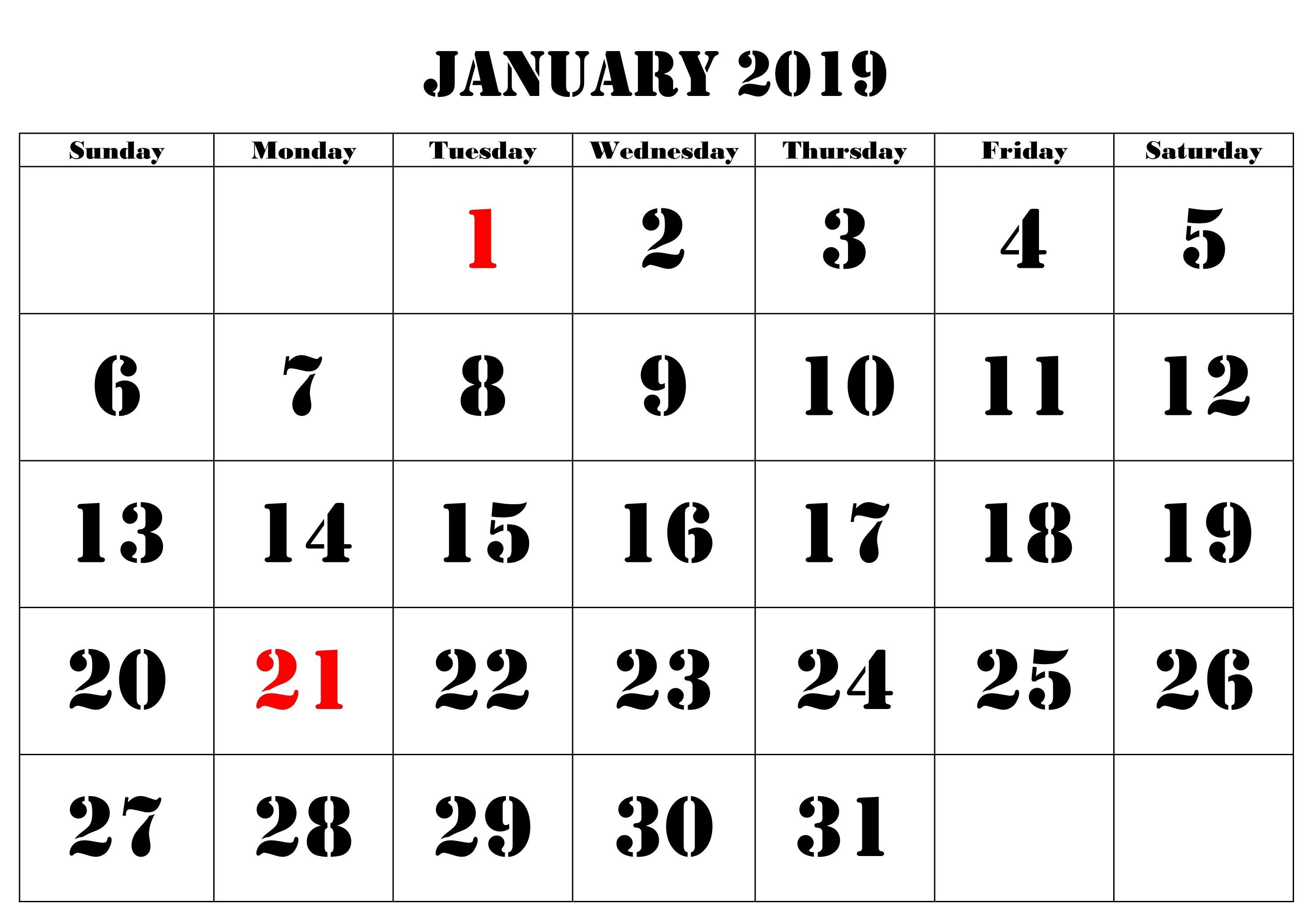 January Calendar 2019 Page