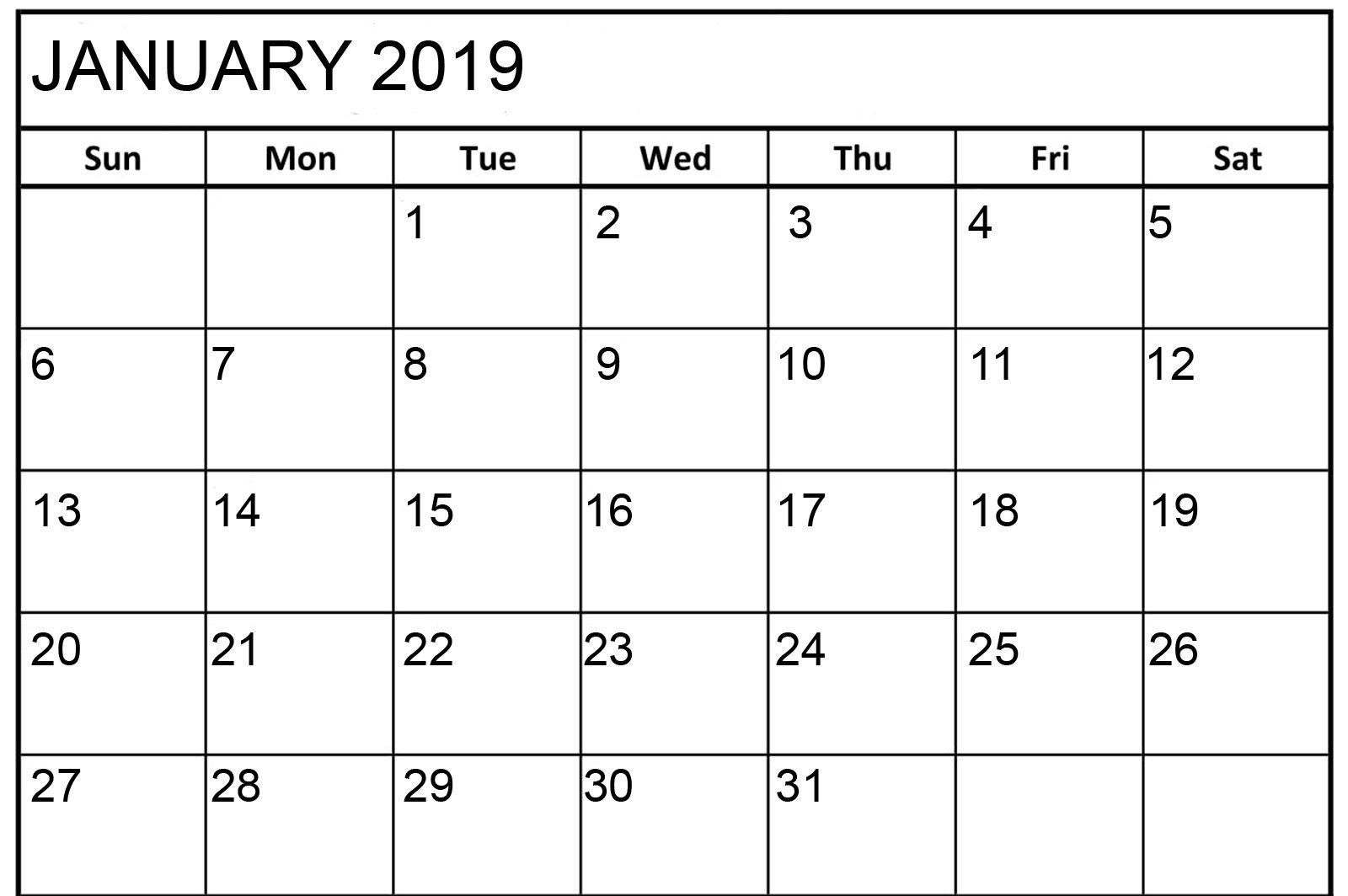 January Calendar 2019 Word
