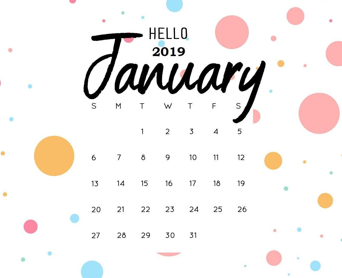 January free Printable 2019 Calendar