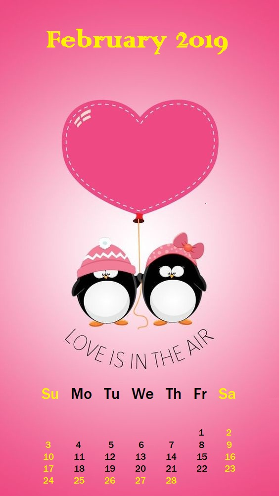 Love is in air February 2019 iPhone Calendar