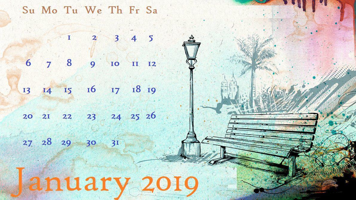 Lovely Painting Desktop Calendar January 2019