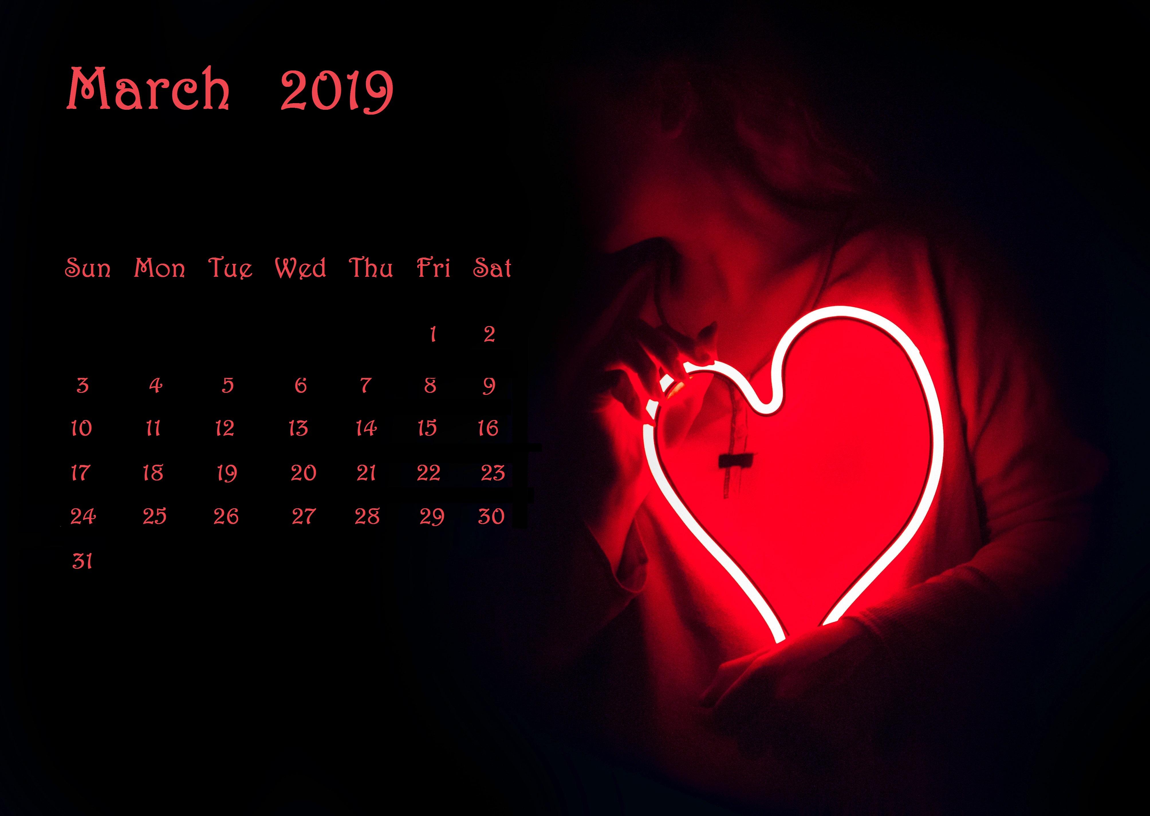 March 2019 Love Desktop Calendar Wallpaper