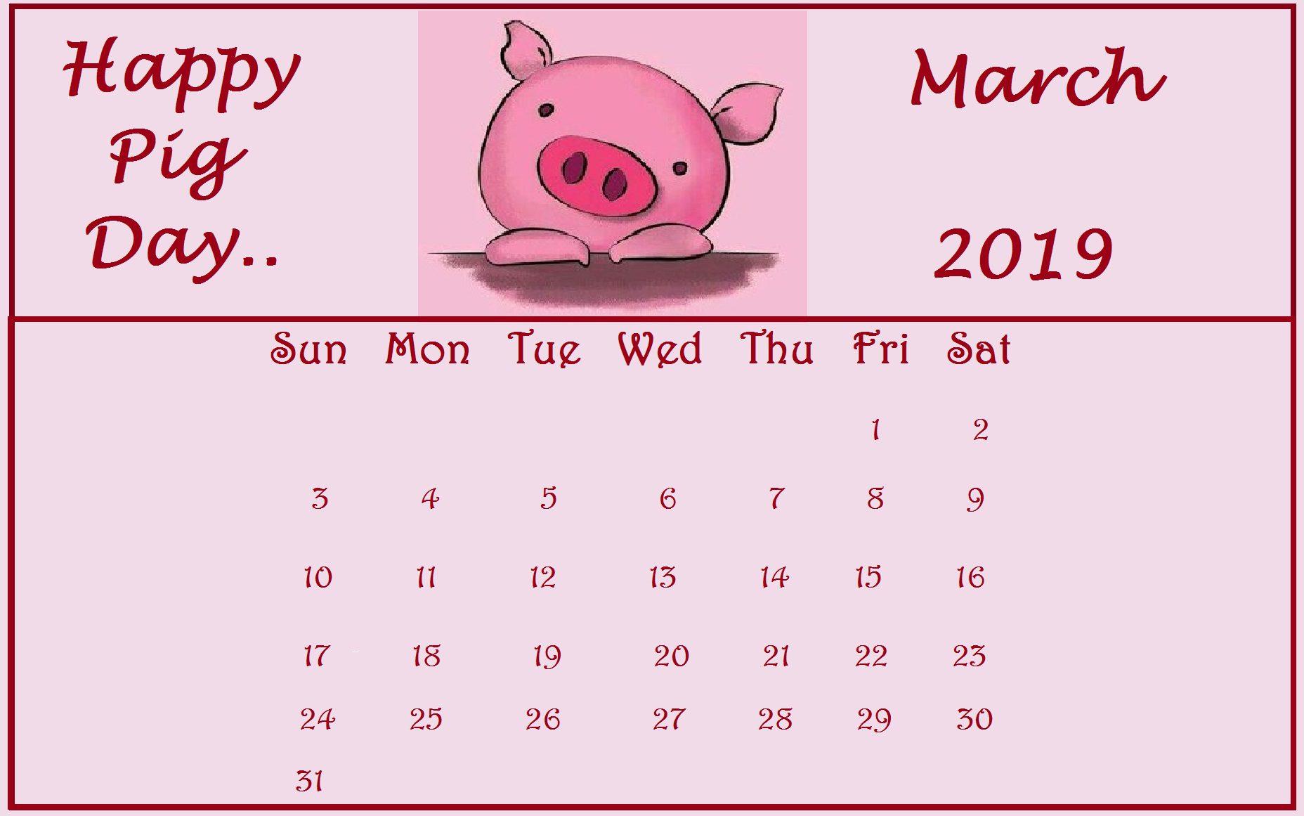 March 2019 free Desktop Calendar