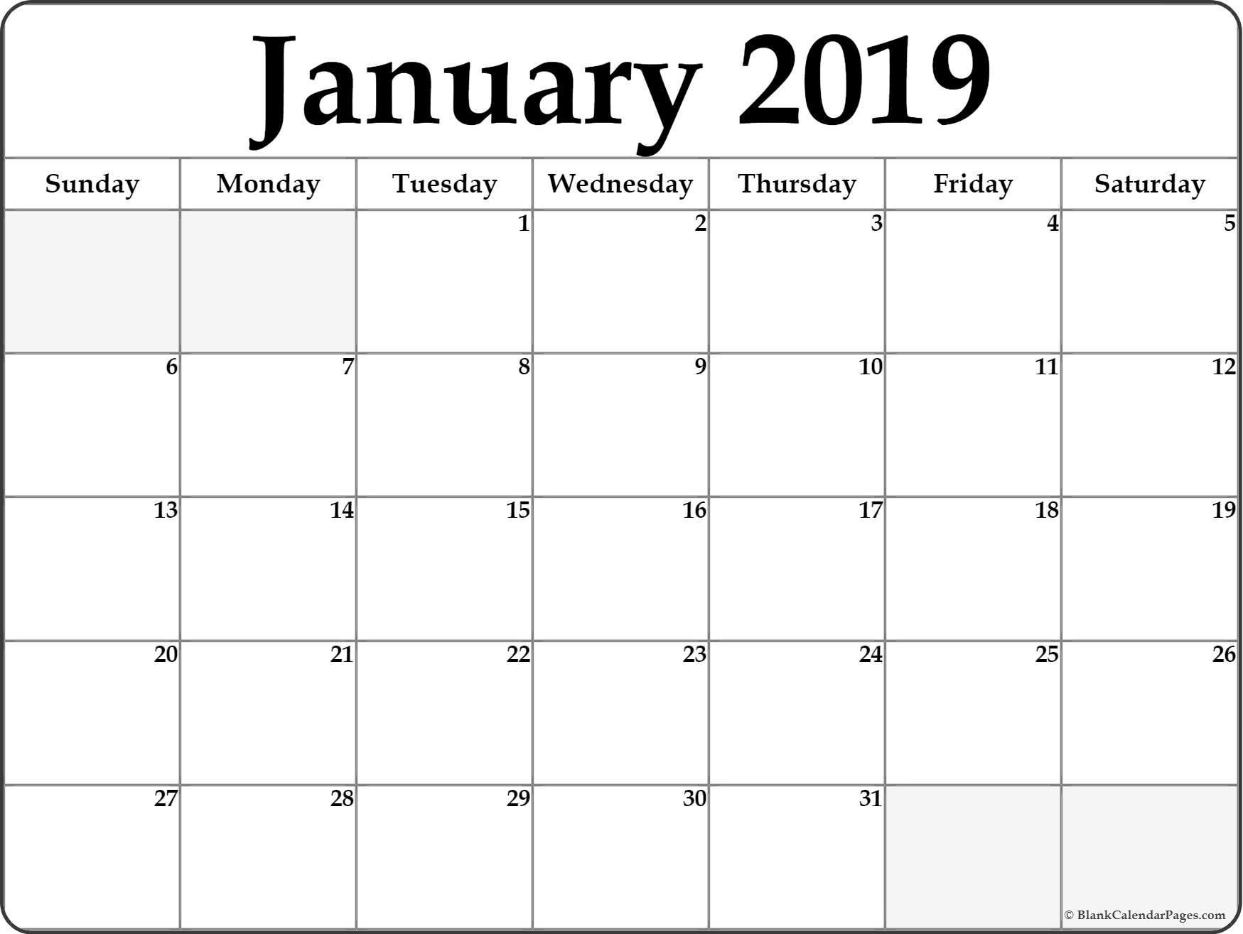 Monthly January 2019 Calendar Landscape