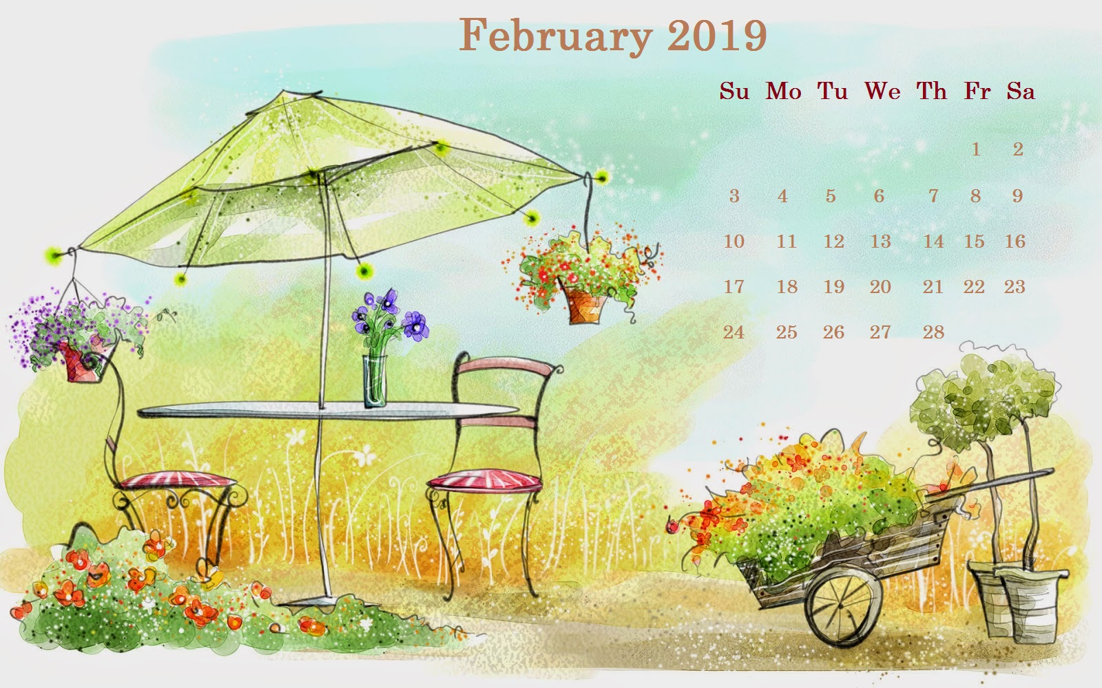 Painting February 2019 Desktop Calendar