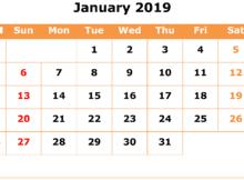 Print January 2019 Calendar Page