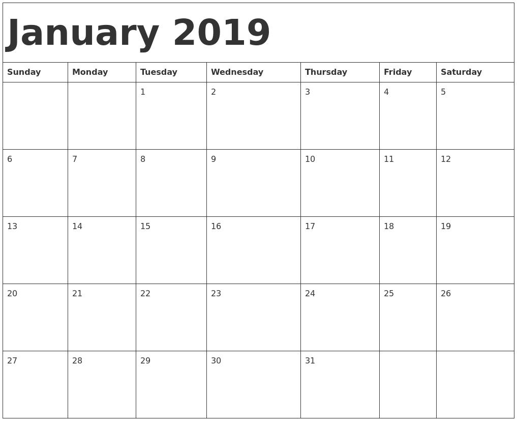 Print January 2019 Calendar Word