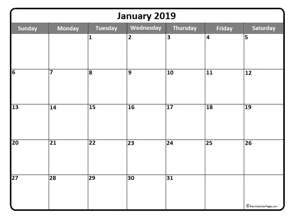 Printable Calendar January 2019 Template