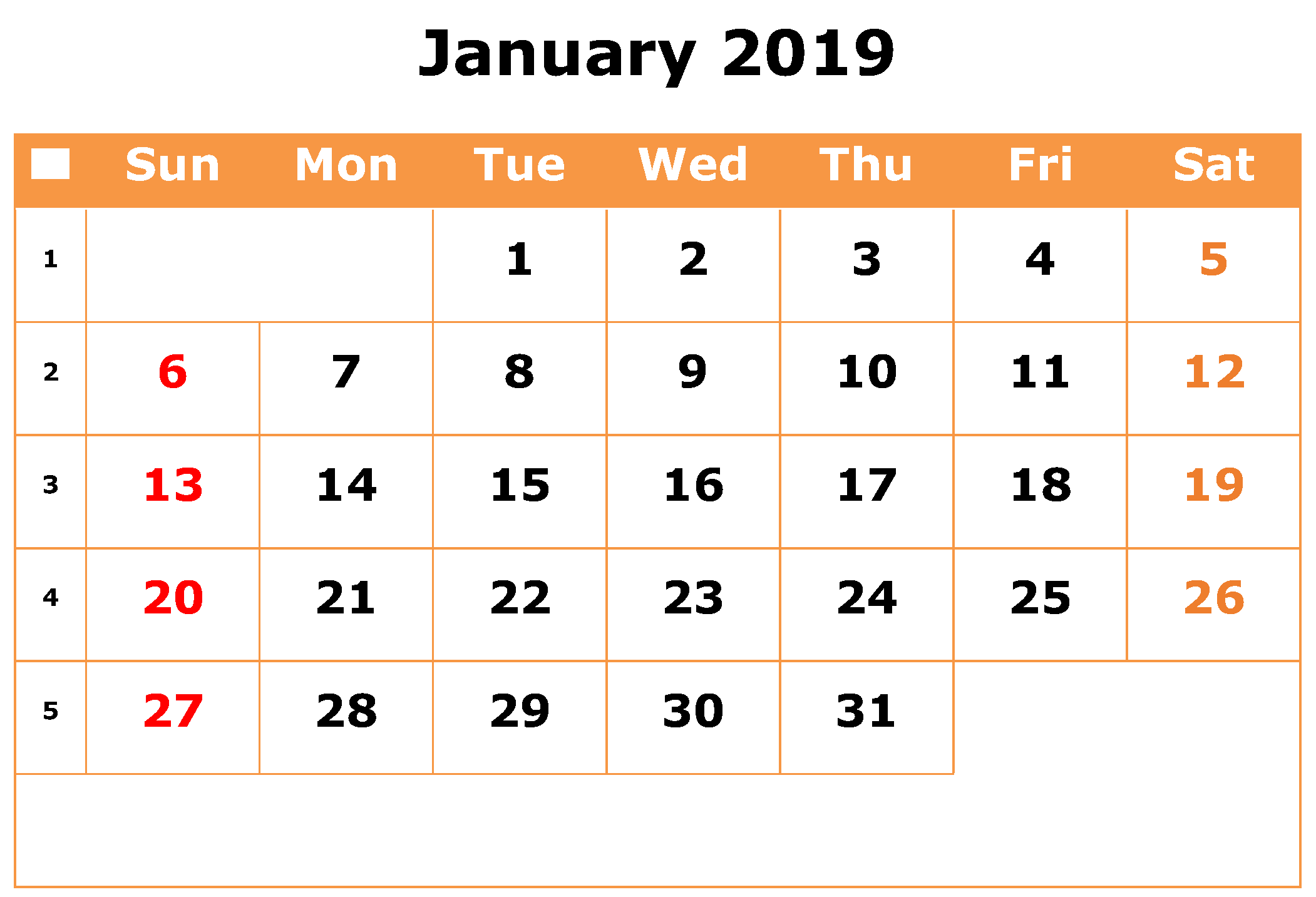 Printable January 2019 Calendar Excel