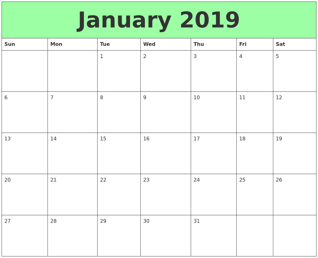 Printable January 2019 Calendar Landscape