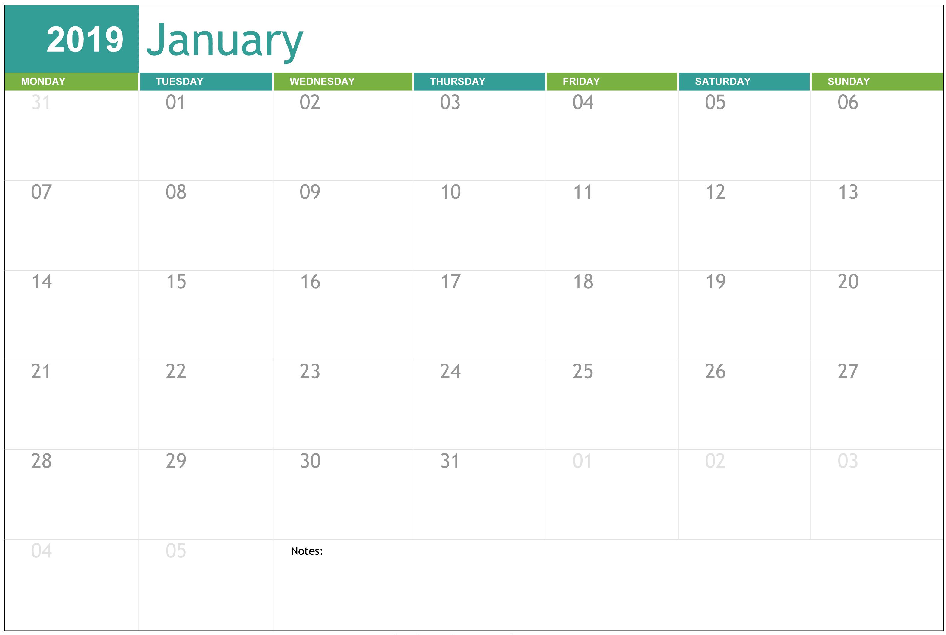 Printable January 2019 Calendar Page