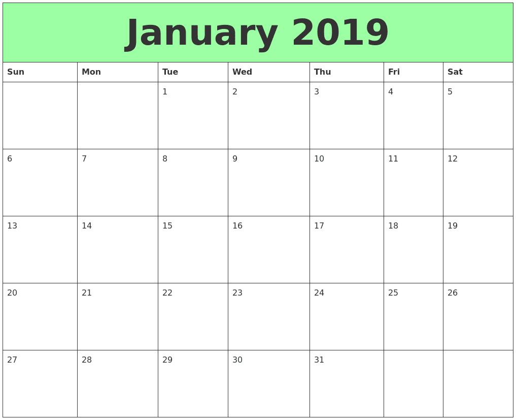 Printable January 2019 Calendar Word