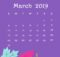 Purple Background March 2019 Desktop Calendar