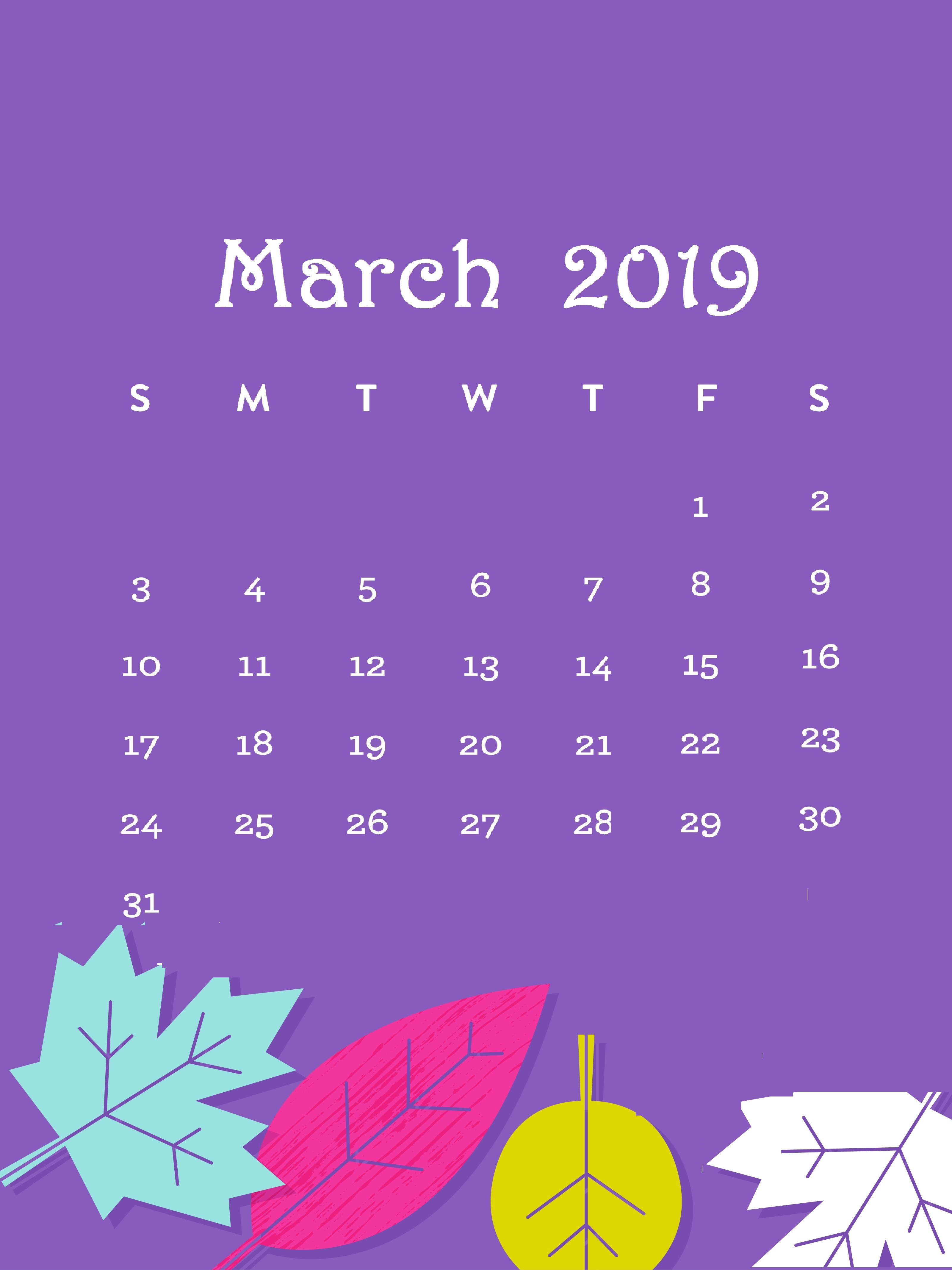 Purple Background March 2019 Desktop Calendar