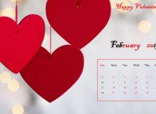 Red heart Desktop Calendar February 2019