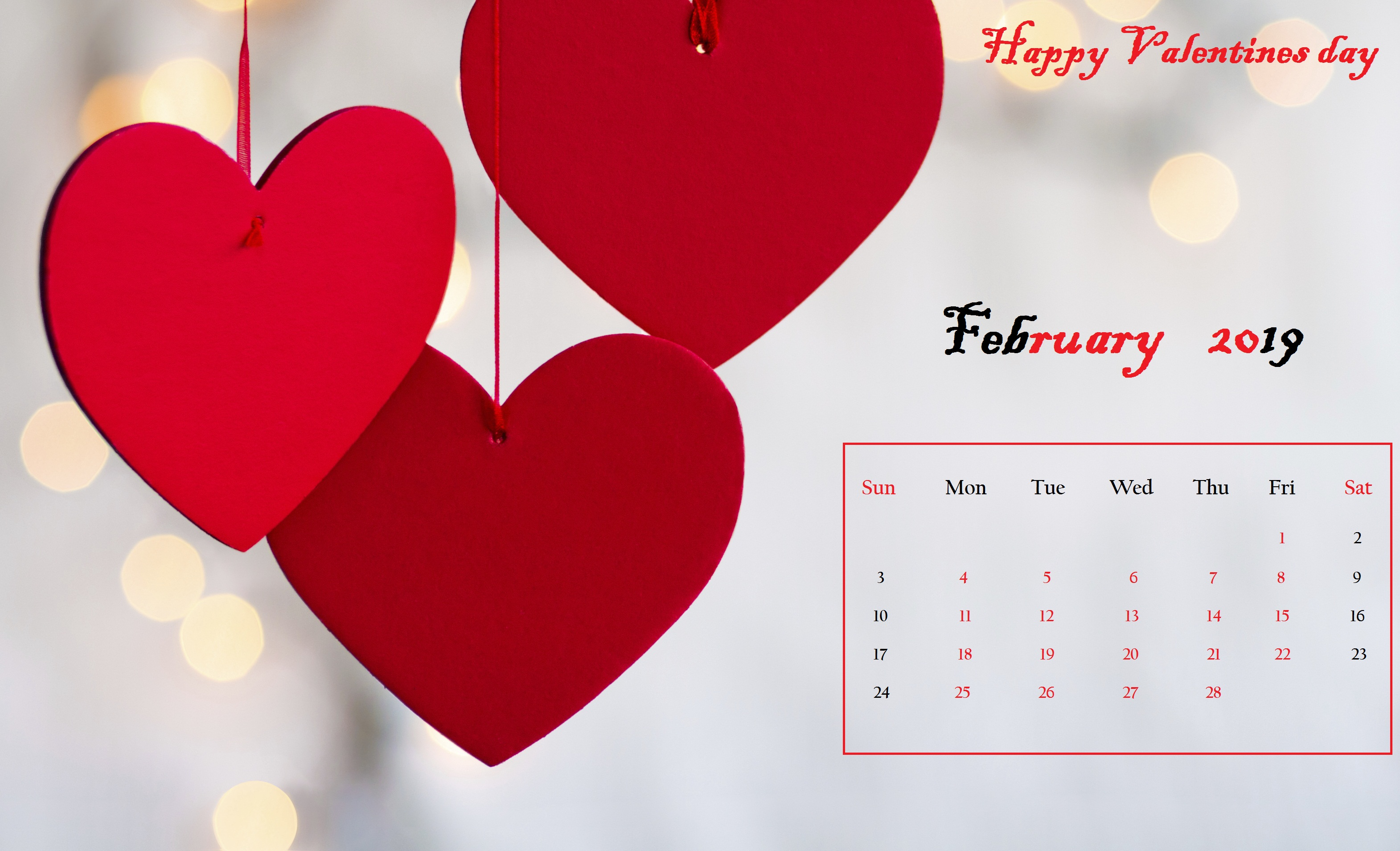 Red heart Desktop Calendar February 2019