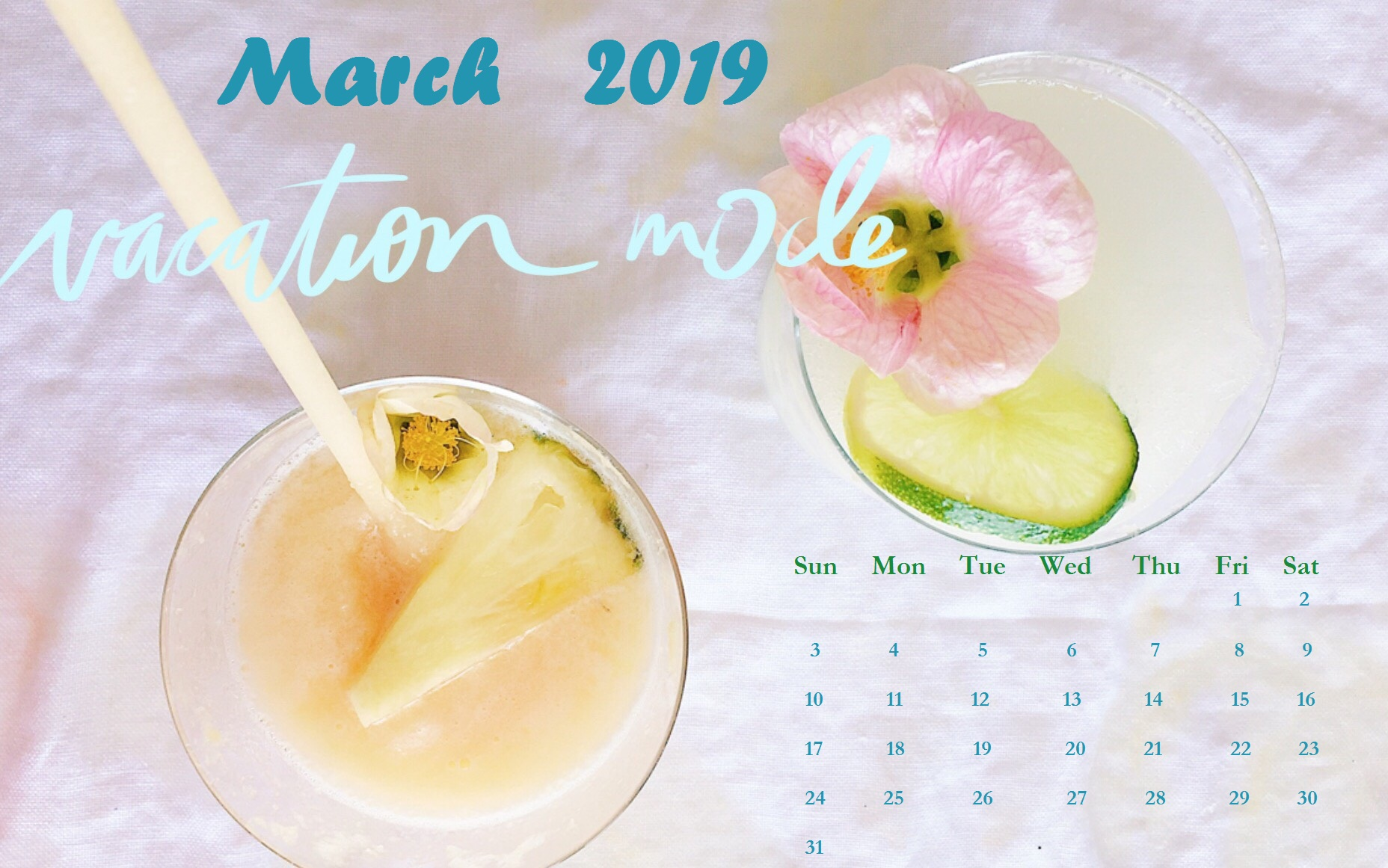 Simple Background March 2019 Calendar