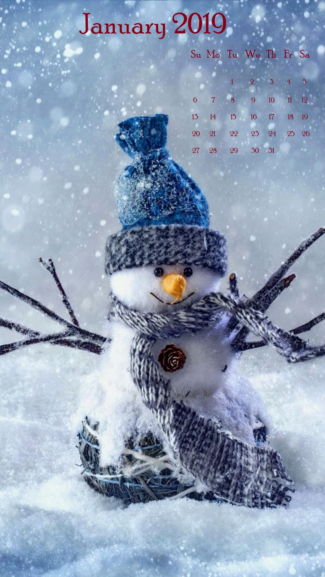 Snow January 2019 iPhone Calendar