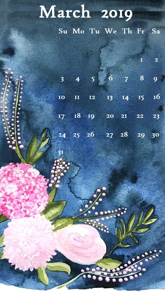 Stones Flowers March 2019 iPhone Calendar