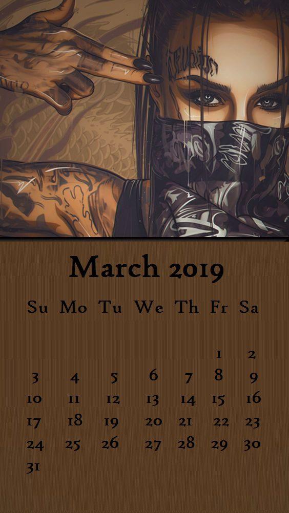 Swaggy girl March 2019 Calendar