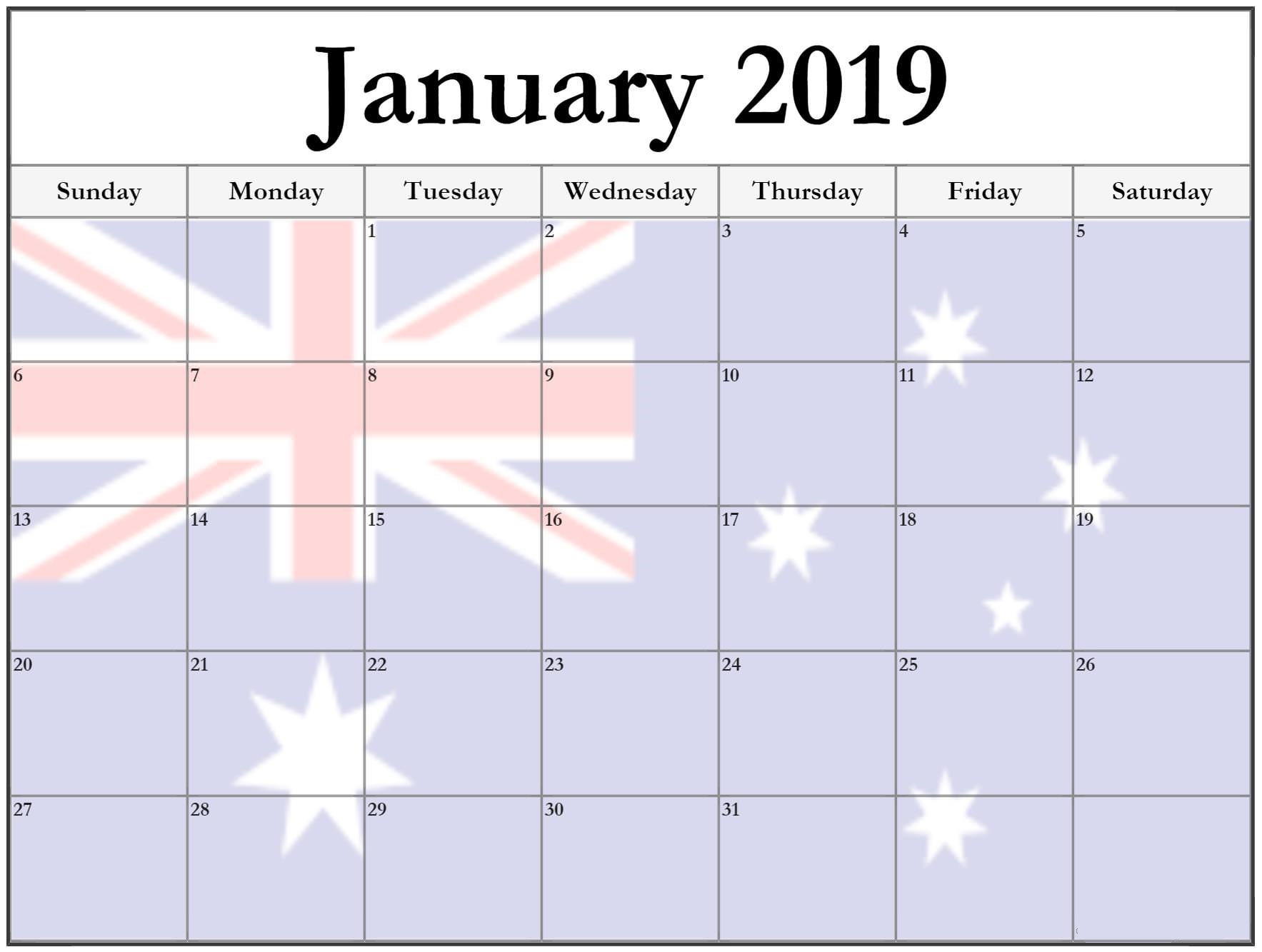 USA Calendar January 2019