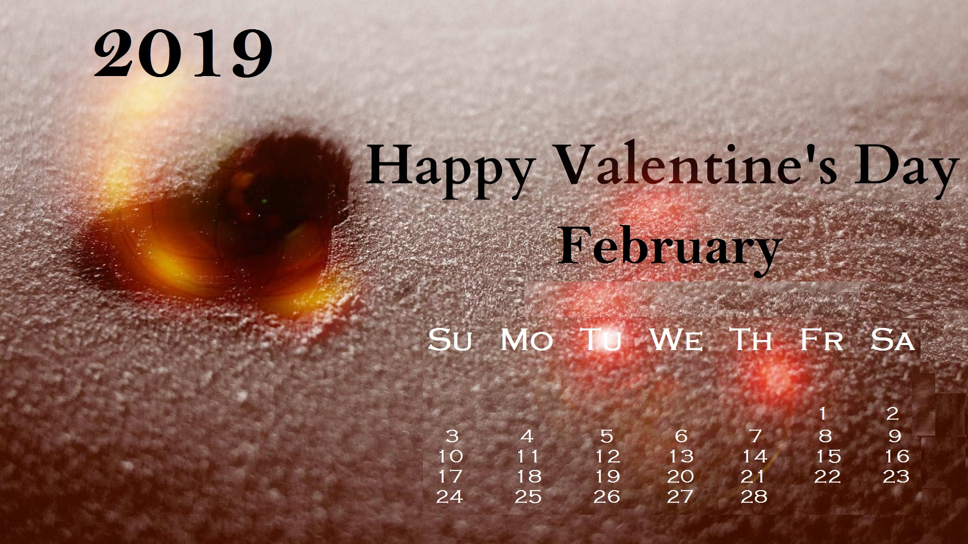 Valentines February 2019 Desktop Calendar Wallpaper