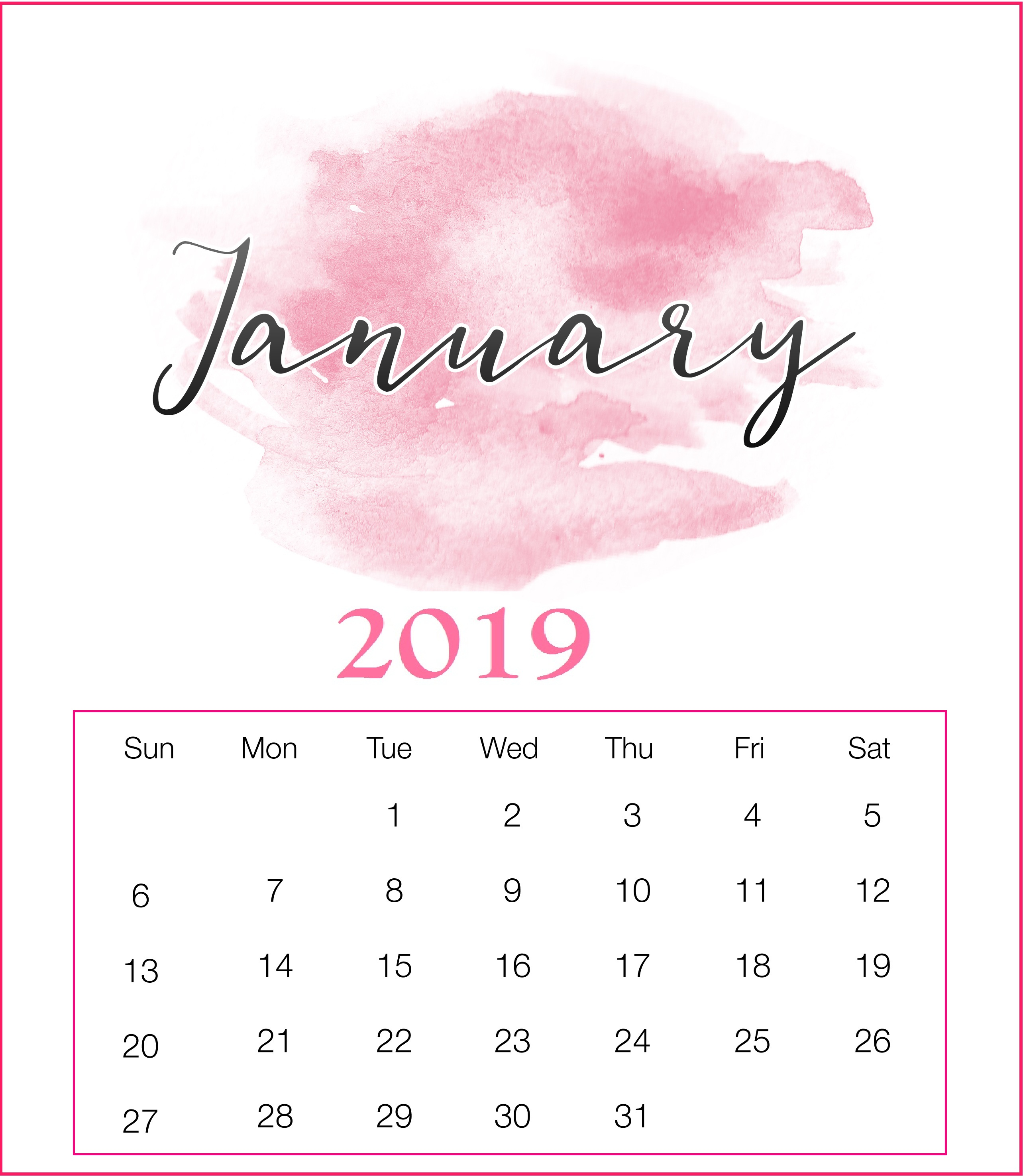 Watercolor 2019 January Printable Calendar