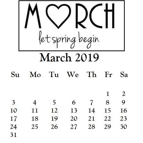 White Background iPhone Calendar March 2019
