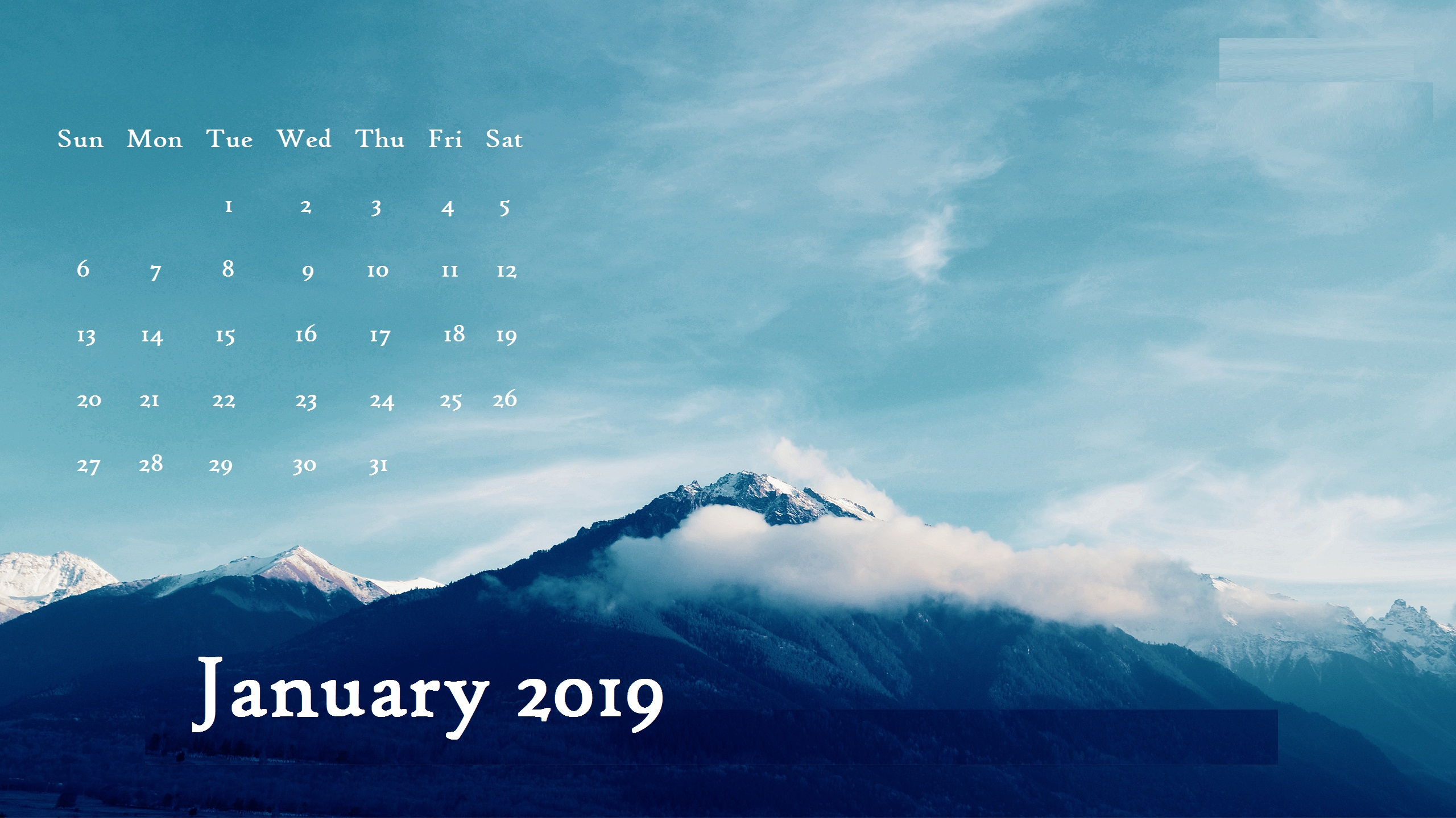 Lovely Painting Desktop Calendar January 2019