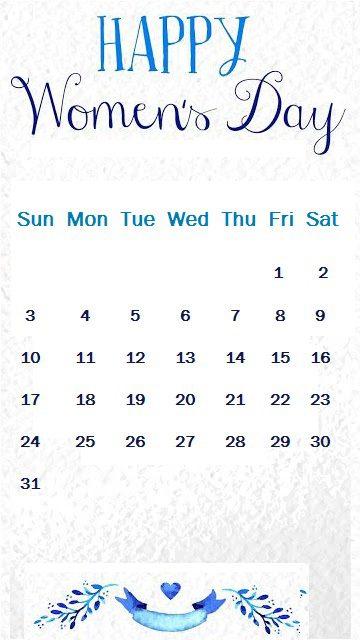 Women's day March 2019 iPhone Calendar