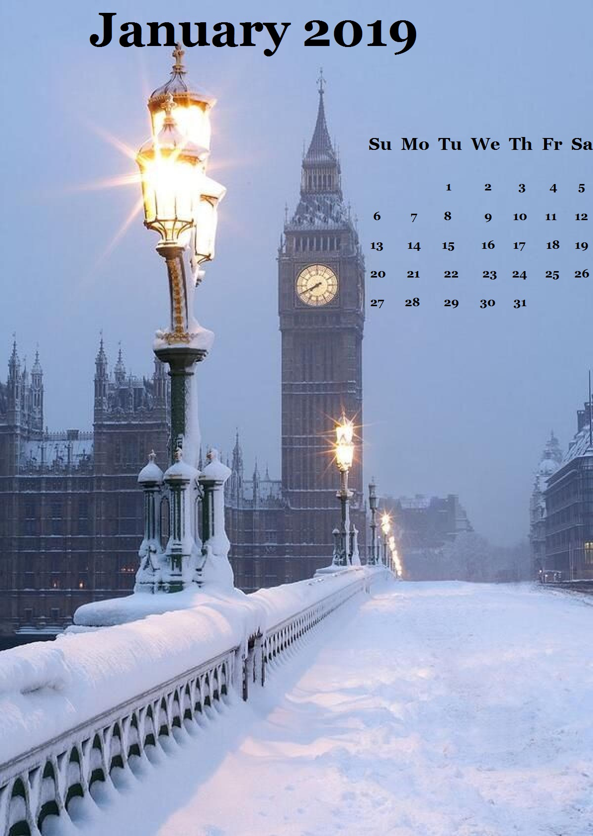 winter London snow January 2019 iPhone Calendar
