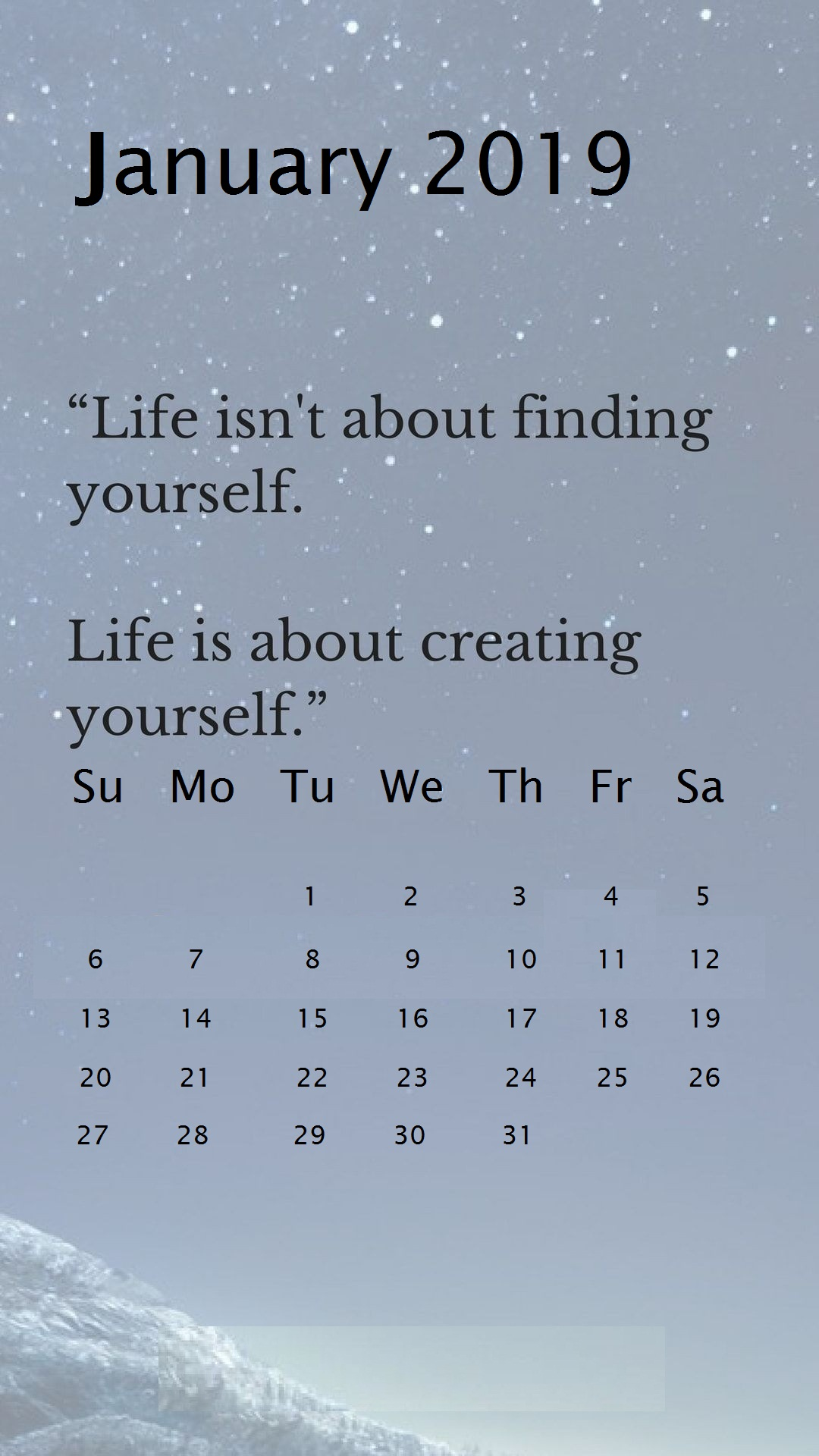 Winter Inspirational January 2019 iPhone Calendar