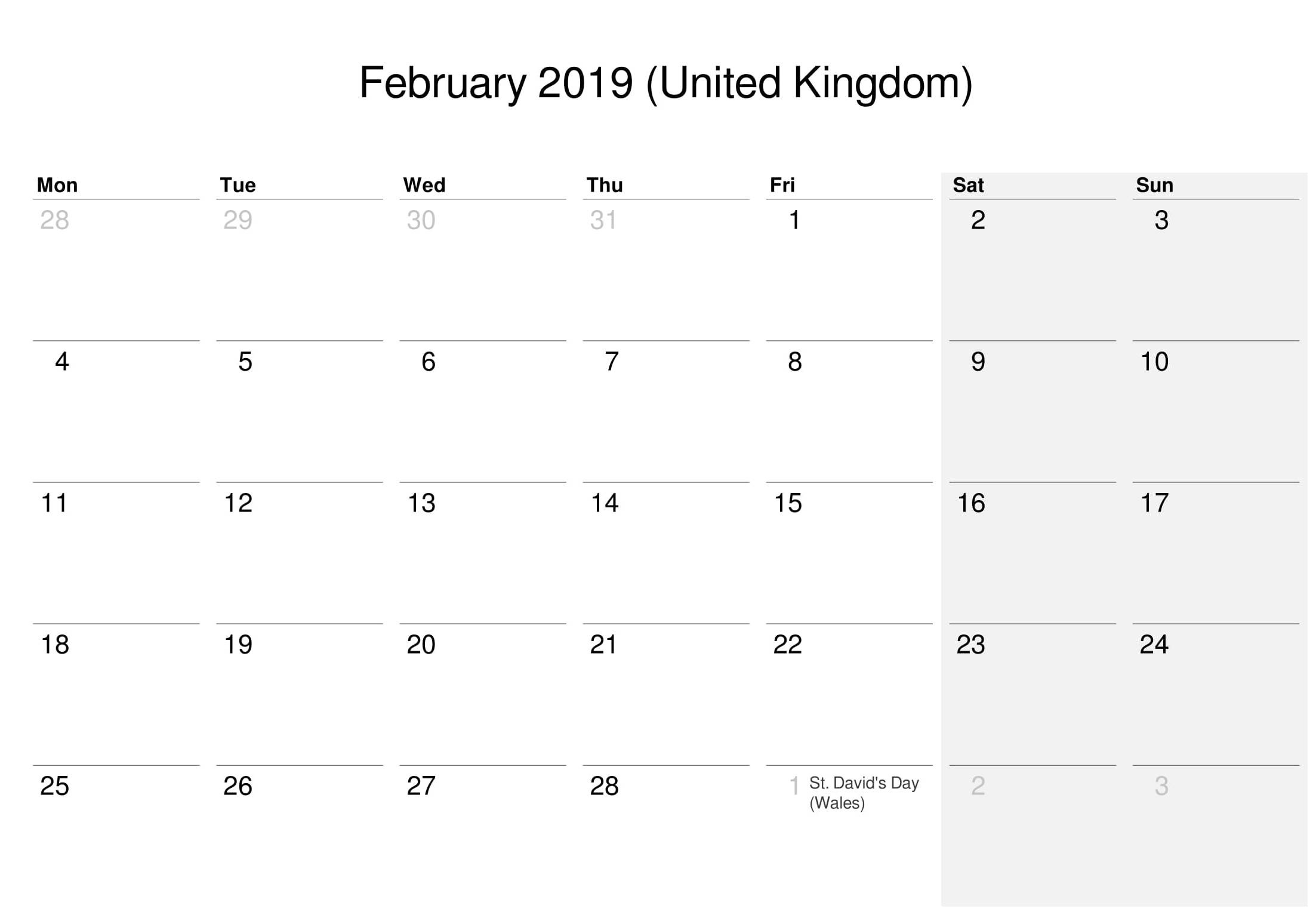 2019 February Calendar UK