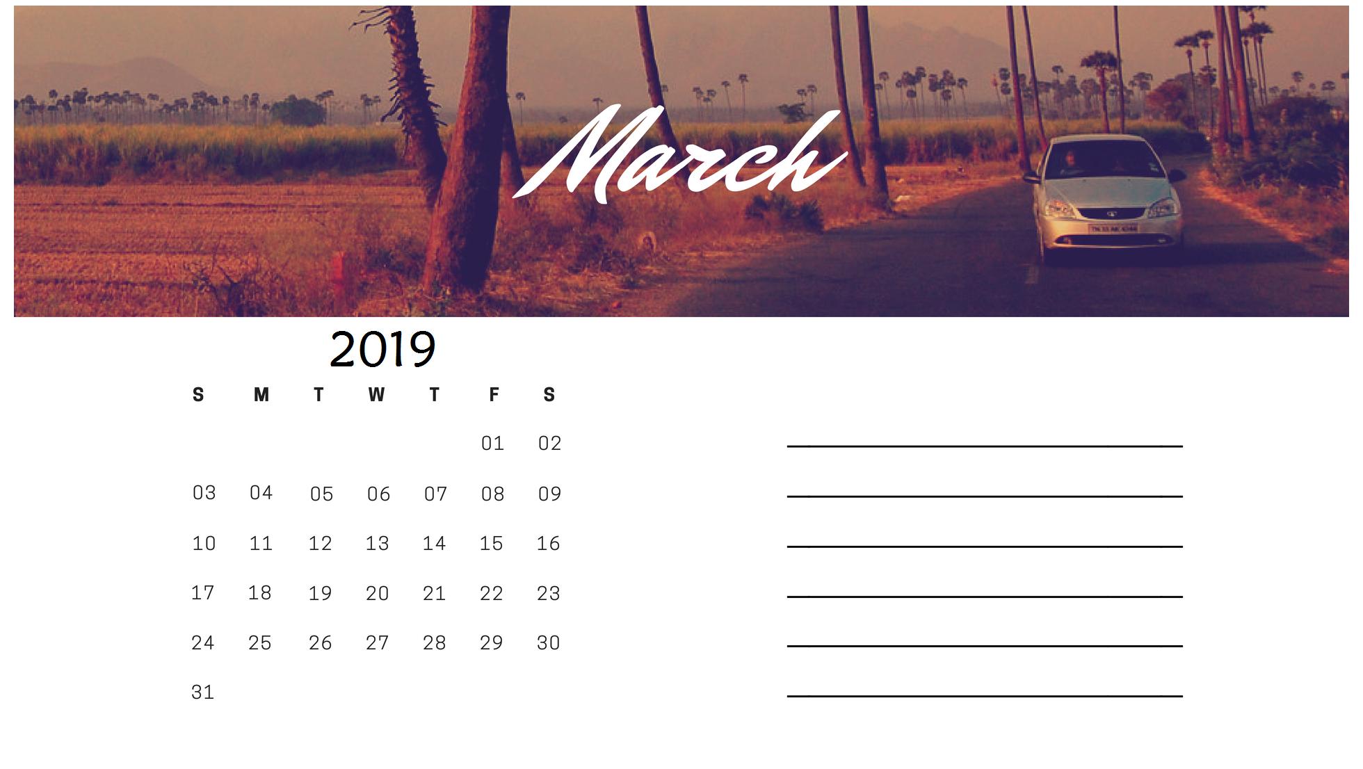 Best March 2019 Calendar Design