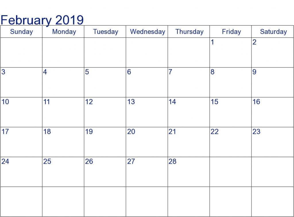Blank Calendar February 2019 PDF