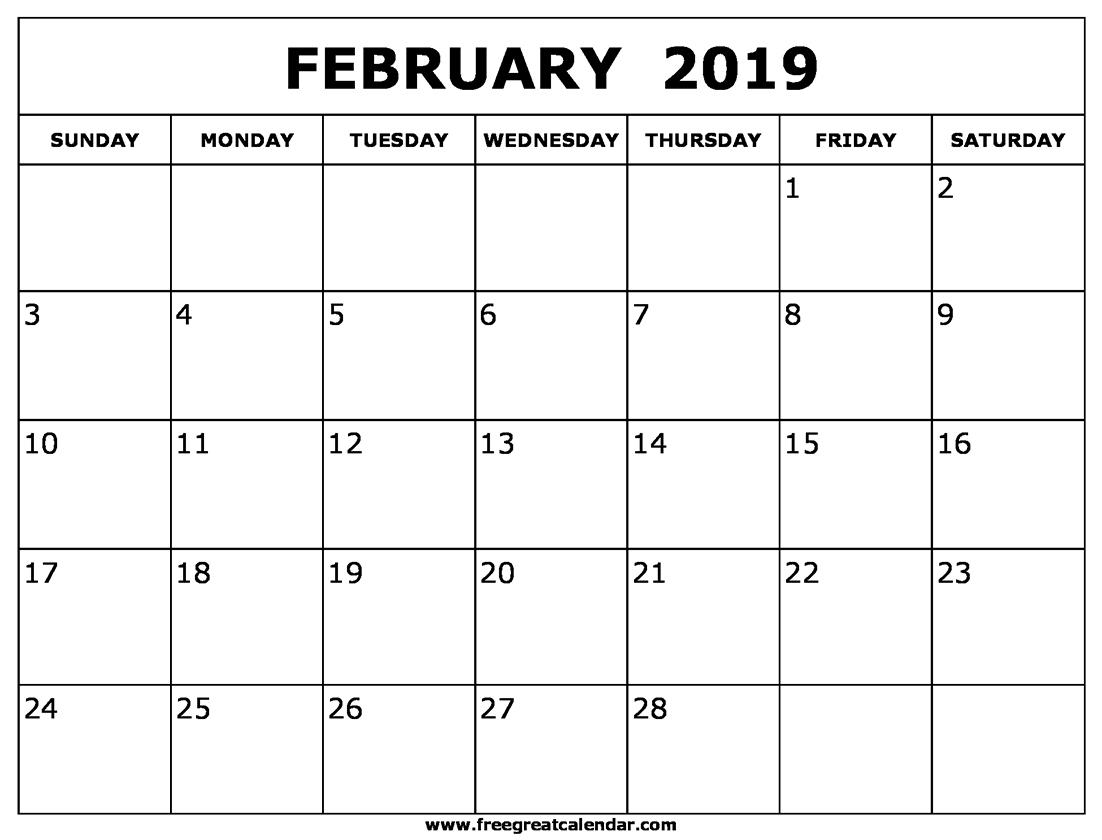 Blank Calendar Template February 2019 to Print