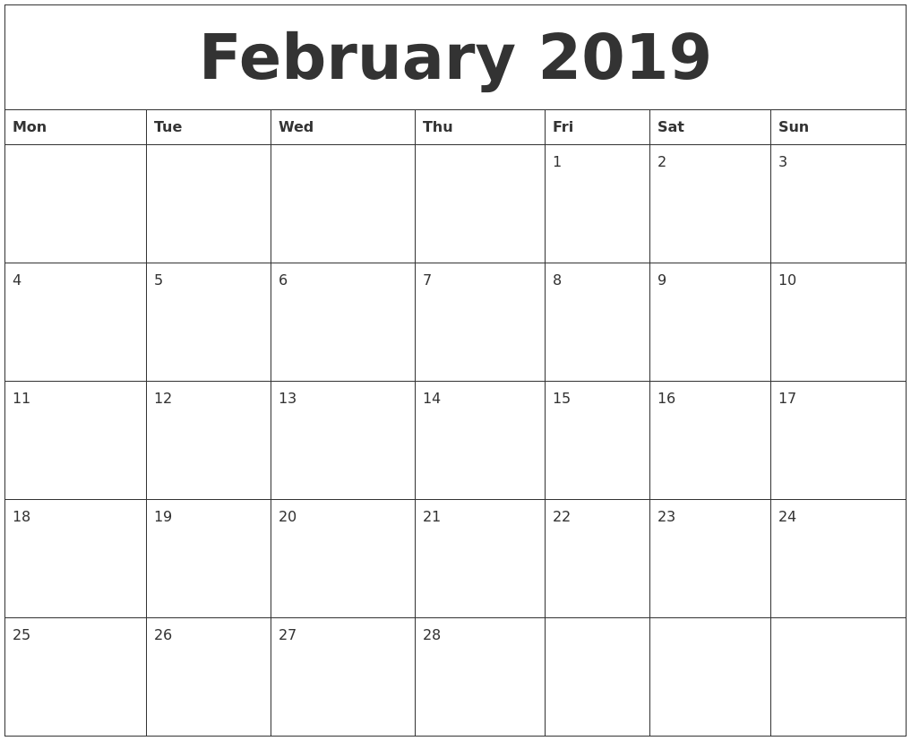 Blank February 2019 Calendar Document