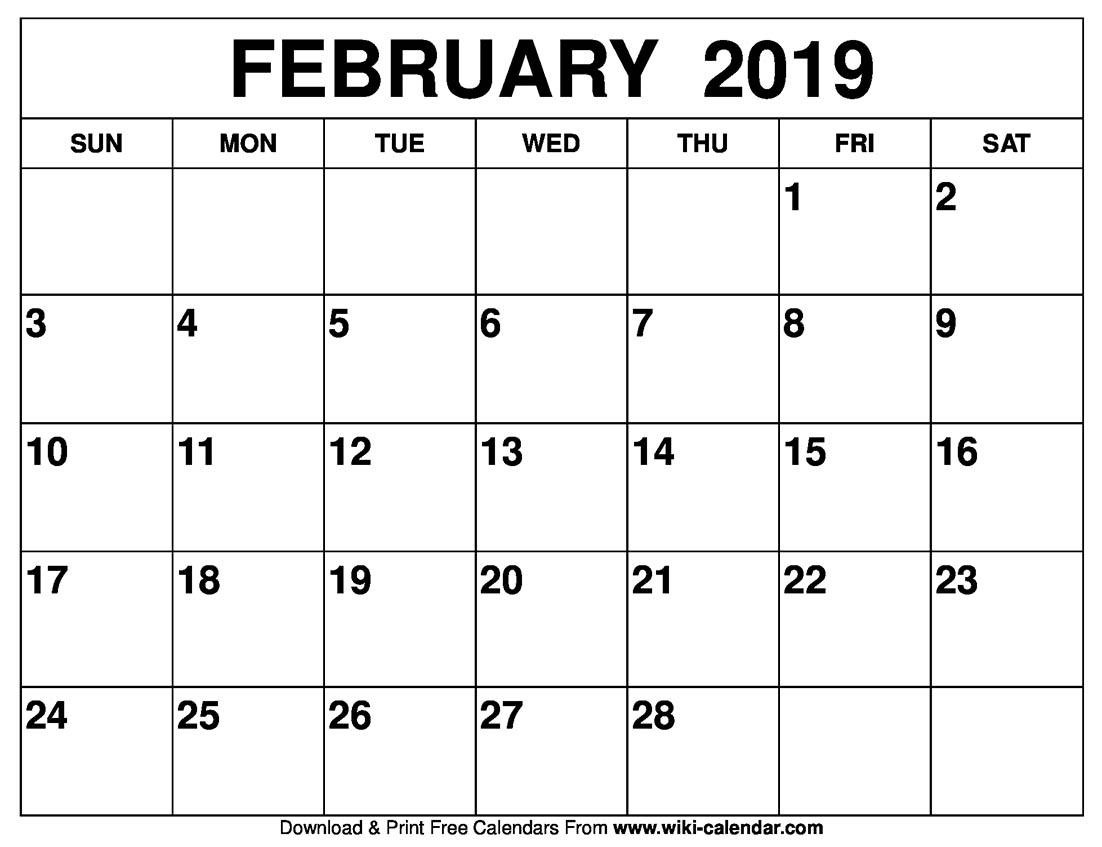 Blank February 2019 Calendar to Print