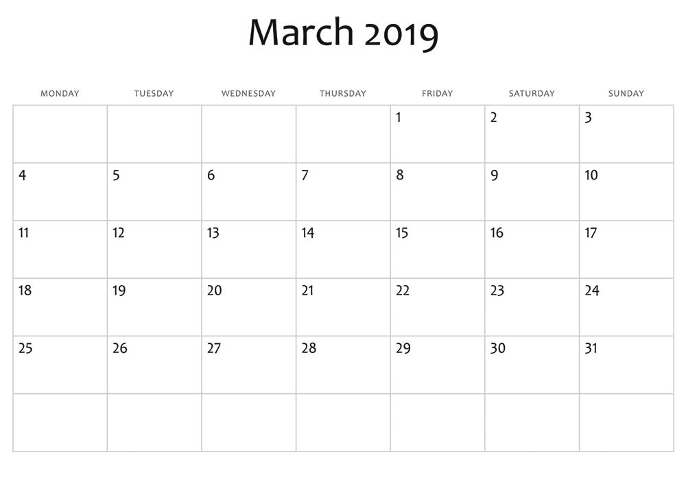 Blank March 2019 Calendar Excel