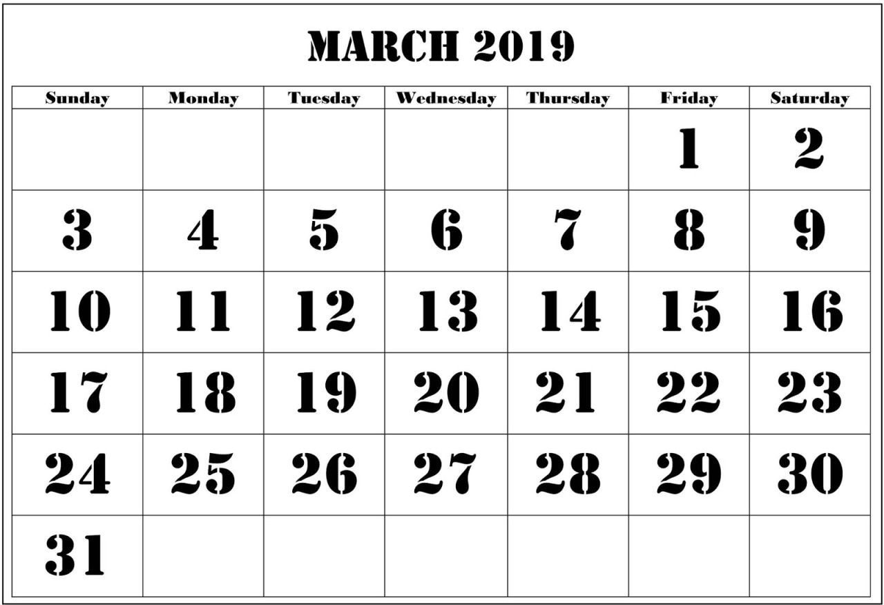 Blank March 2019 Calendar Word