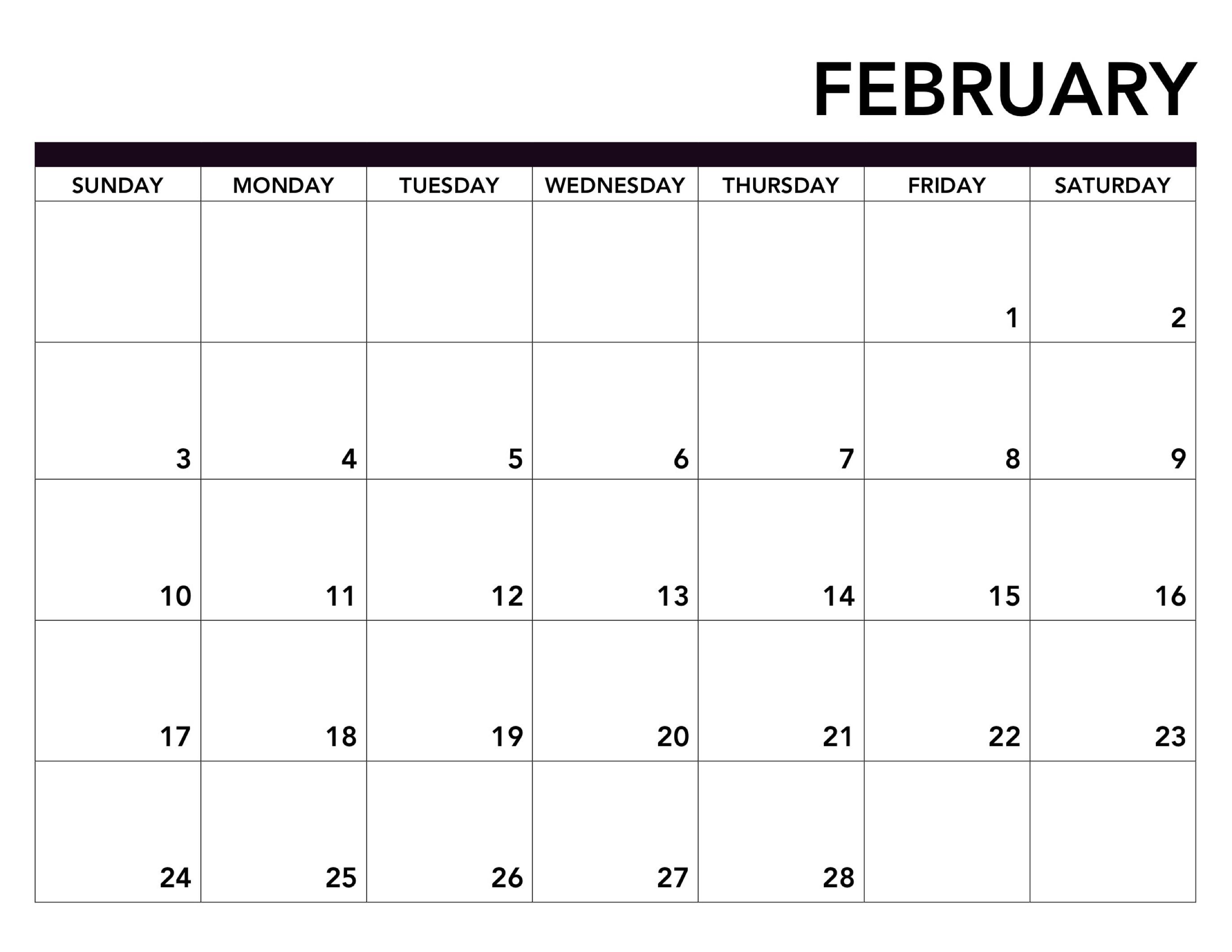 Blank Monthly Calendar February 2019